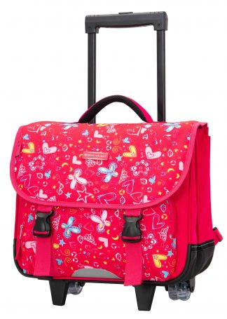 Cartable à roulettes Fille rose snowball